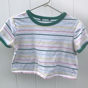 White crop top with colored stripes